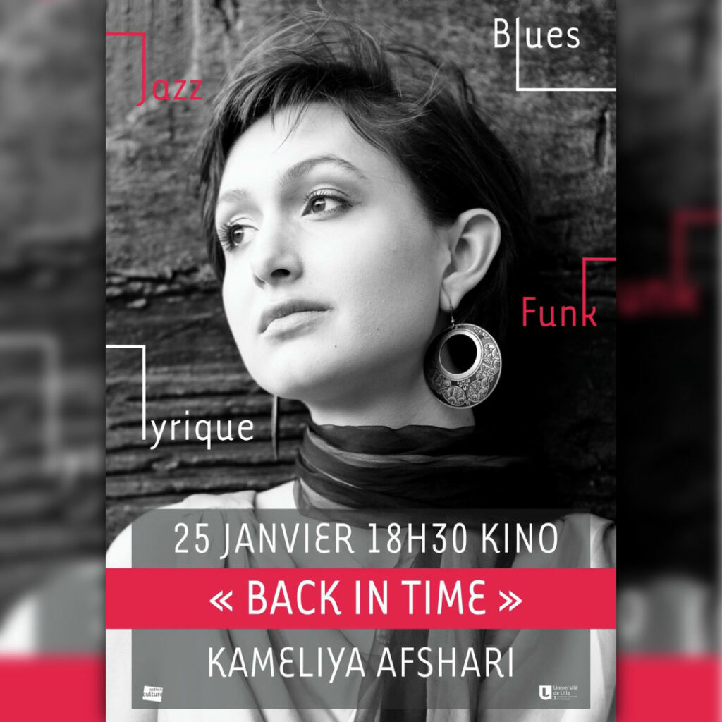 Kameliya Afshari concert Lille Back in Time KINO portrait poster spectacle show jazz blues funk pop 25 janvier